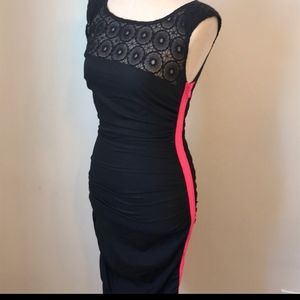 Rachel Roy Black Dress with Hot Pink Zipper
